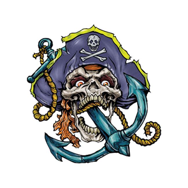 2829bbbf12790 Anchor Pirate Skull Temporary Tattoo