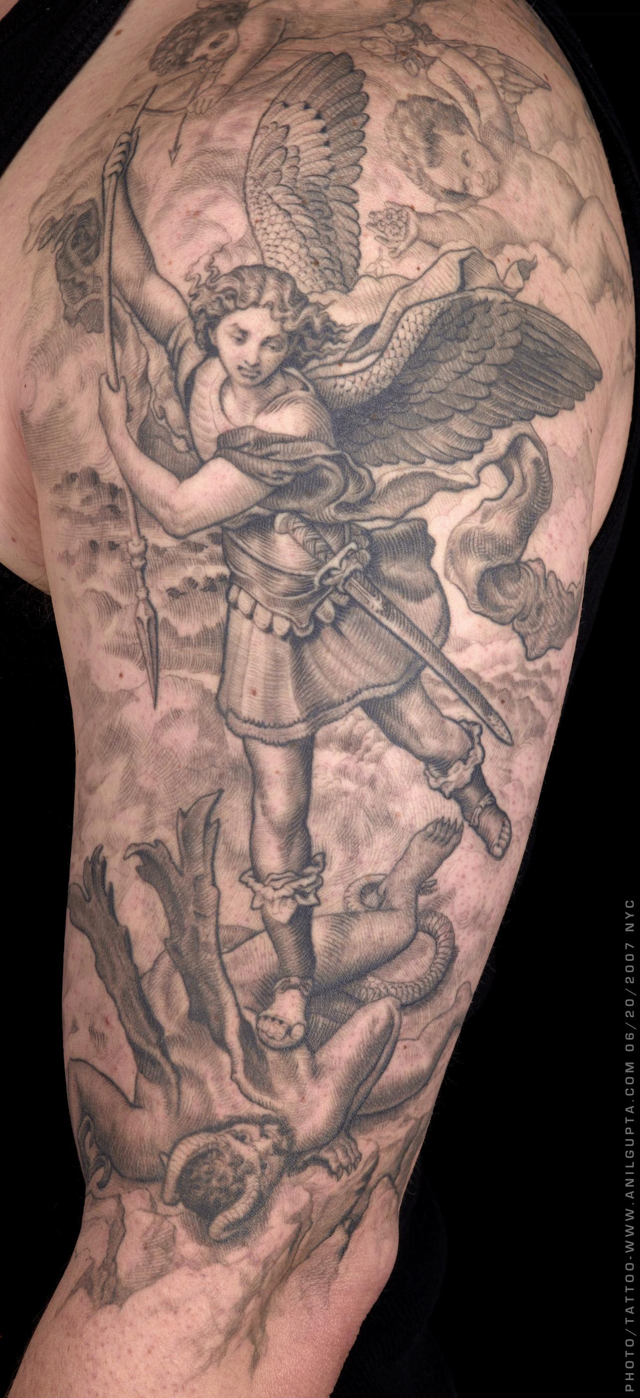 archangel michael tattoo - 736×1607