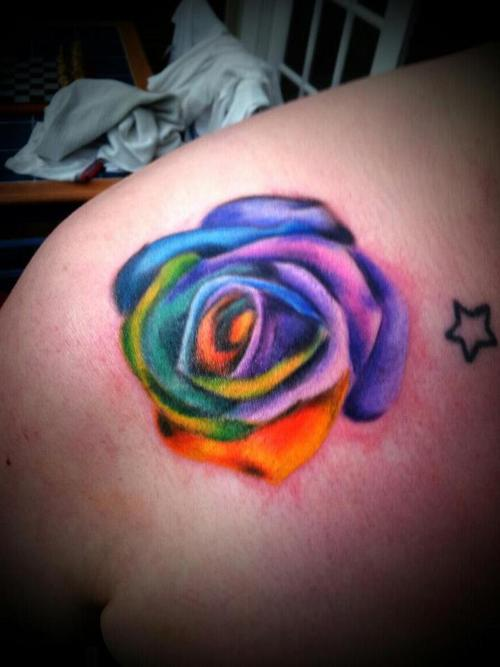 Colored Roses Tattoos