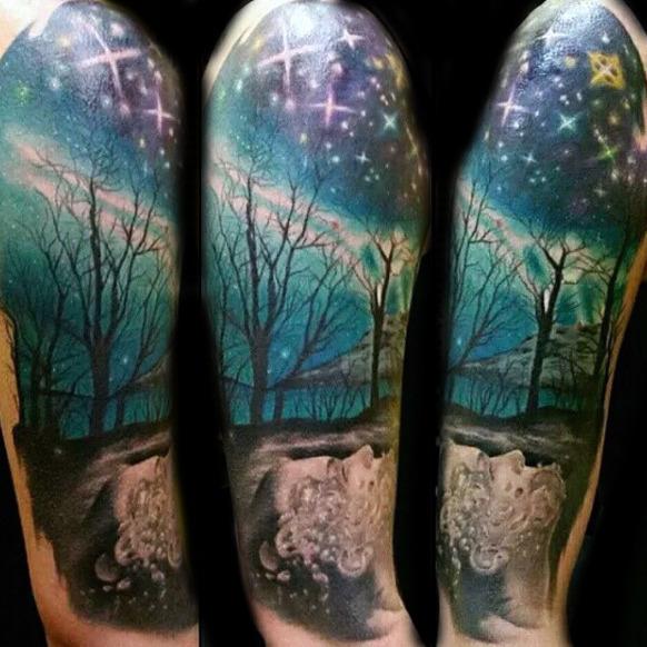 ea39989ca91c3 50 Northern Lights Tattoo Designs For Men ?Çô Aurora Borealis Ink ..
