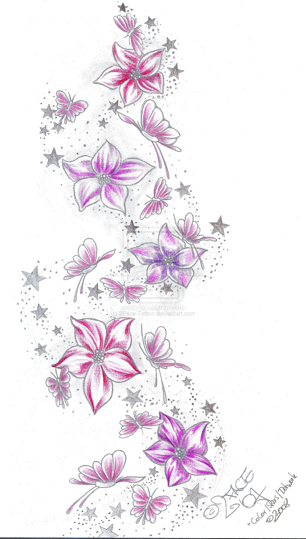 Stars Flower Tattoos