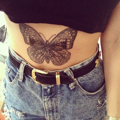 5c9eb5bf3ee7f Stomach butterfly Tattoos