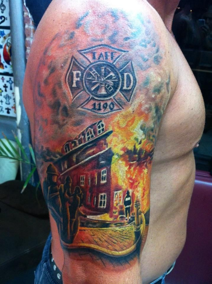 Fireman tattoos for Firefighter tattoos and meanings